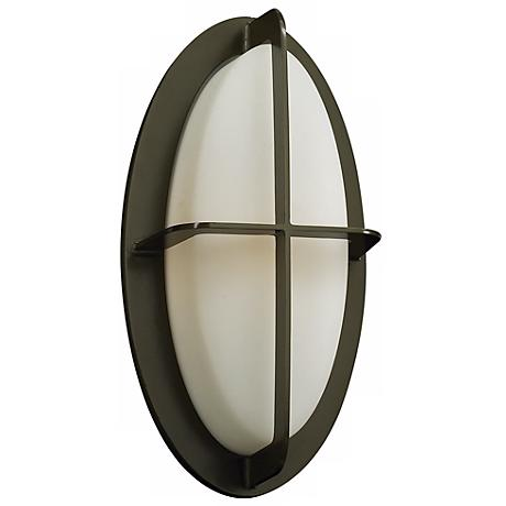 "Aqua 14"" High Bronze Oval Outdoor Wall Light"
