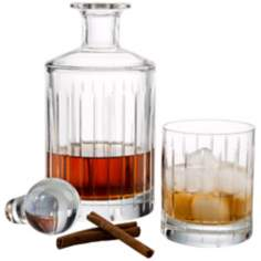 Glenview Collection 3-Piece Crystal Decanter and Glass Set