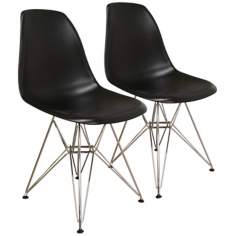 Set of 2 Tularosa Black Plastic Wire Chairs