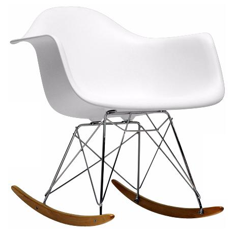 Contemporary white plastic rocking chair with arms. Wire legs are made ...