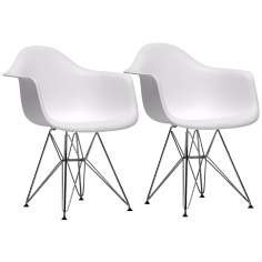 Set of 2 Myra White Plastic Arm Chairs