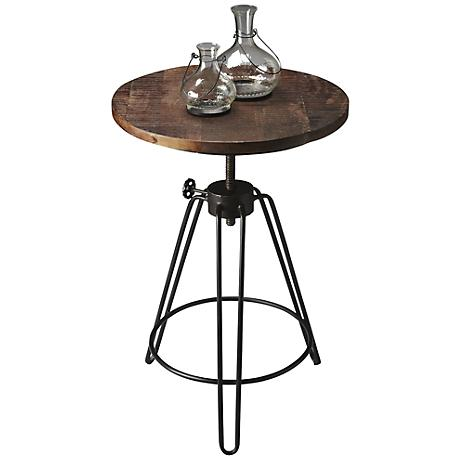 Metalworks Industrial Metal and Wood Accent Table
