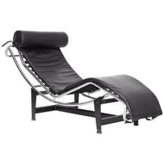 Jaisson Black Leather Adjustable Chaise