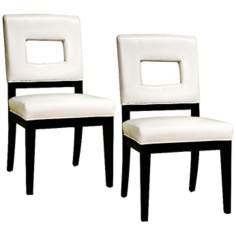 Set of 2 Euclid White Leather Dining Chairs