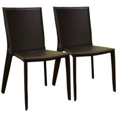 Set of 2 Gilda Brown Bonded Leather Dining Chairs