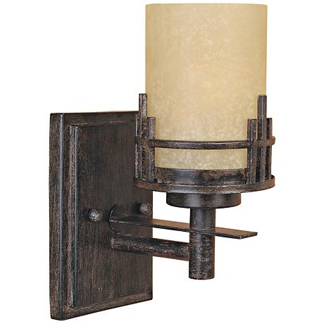 "Mission Ridge 10 1/2"" High Goldenrod Glass Wall Sconce"