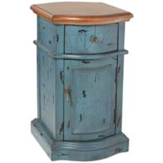 Heidi Petit Teal Crackle Chairside Chest