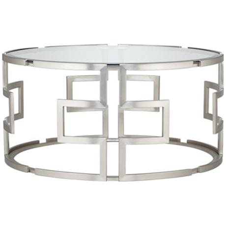 Geometric Silver Glass Coffee Table Y8033
