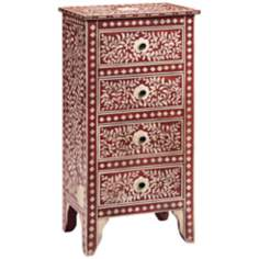 Moroccan Floral Four Drawer Red Chest