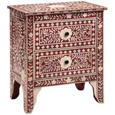 Moroccan Floral Two Drawer Red Chest
