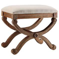 Sinclair Distressed Walnut Wood Ottoman