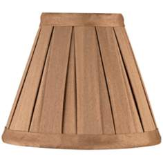 Pleated Light Bronze Faux Silk Mini Shade 3x6x5 (Clip-On)