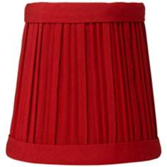 Red Mushroom Pleat Miniature Drum Lamp Shade 3x4x4 (Clip-On)