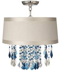 "Nicolli Blue 16"" Wide Off-White Drum Ceiling Light"