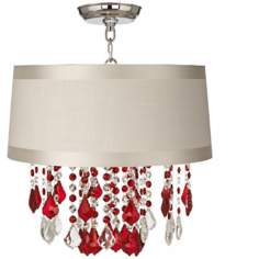 "Nicolli Red 16"" Wide Off-White Drum Crystal Ceiling Light"