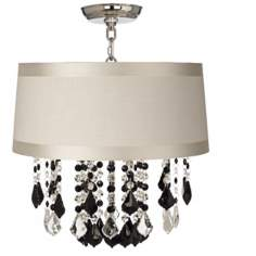 "Nicolli Black 16"" Wide Off-White Drum Ceiling Light"