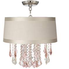 "Nicolli Pink 16"" Wide Off-White Drum Crystal Ceiling Light"