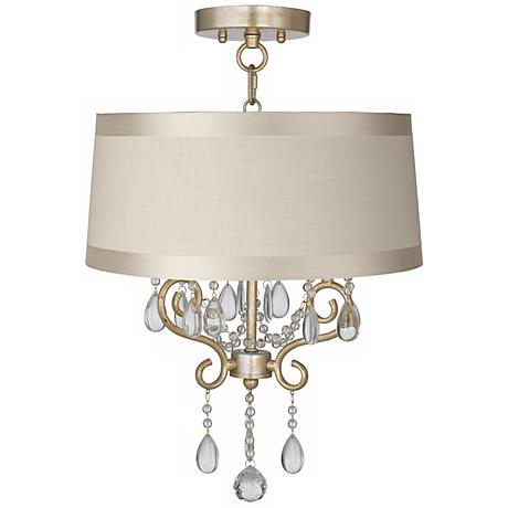 "Conti 16"" Wide Ceiling Light with Off-White Drum Shade"