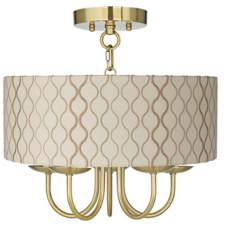 "Wynwood Gold 14"" Wide Embroidered Hourglass Ceiling Light"
