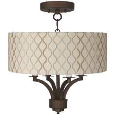 "Fortuna Bronze 14"" Wide Hourglass Ceiling Light"