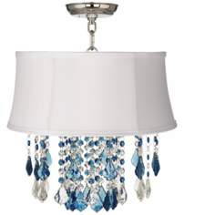 "Nicolli Blue 16"" Wide White Shade Crystal Ceiling Light"