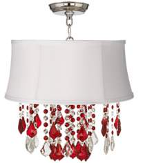 "Nicolli Red 16"" Wide White Shantung Crystal Ceiling Light"