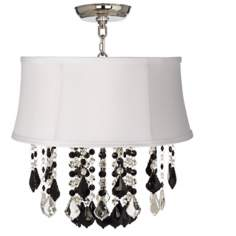 "Nicolli Black 16"" Wide White Shade Crystal Ceiling Light"