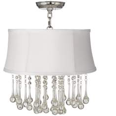 "Beatrix Crystal 16"" Wide White Shantung Ceiling Light"