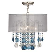 "Nicolli Blue 16"" Wide Sheer Silver Crystal Ceiling Light"