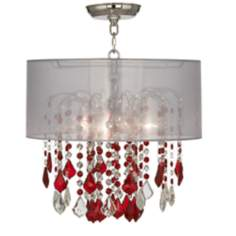 "Nicolli Red 16"" Wide Sheer Silver Crystal Ceiling Light"