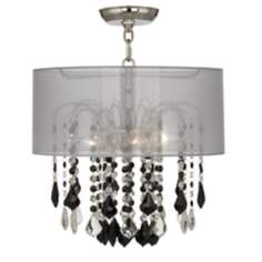 "Nicolli Black 16"" Wide Sheer Silver Crystal Ceiling Light"