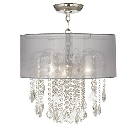 "Nicolli Clear 16"" Wide Sheer Silver Crystal Ceiling Light"