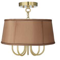 "Wynwood Gold 16"" Wide Biscuit Brown Ceiling Light"