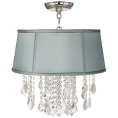 "Nicolli Clear 16"" Wide Spa Blue Crystal Ceiling Light"