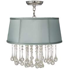 "Beatrix Crystal 16"" Wide Spa Blue Ceiling Light"