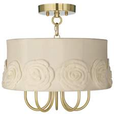"Wynwood Gold 16"" Wide Crochet Flower Ceiling Light"