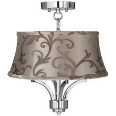 "Fortuna Chrome 16"" Wide Leon Floral Scroll Ceiling Light"