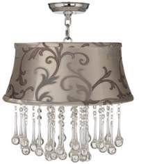 "Beatrix Crystal 16"" Wide Leon Floral Scroll Ceiling Light"