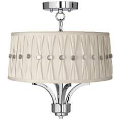 "Fortuna Chrome 16"" Wide Pinch Pleat Ceiling Light"