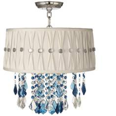 "Nicolli Blue 16"" Wide Pinch Pleat Crystal Ceiling Light"