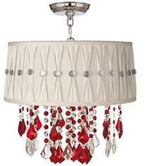 "Nicolli Red 16"" Wide Pinch Pleat Crystal Ceiling Light"