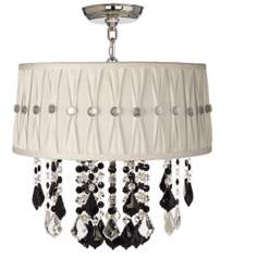 "Nicolli Black 16"" Wide Pinch Pleat Crystal Ceiling Light"