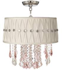 "Nicolli Pink 16"" Wide Pinch Pleat Crystal Ceiling Light"