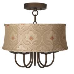 "Wynwood 16"" Wide Ceiling Light with Taupe Floral Shade"