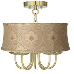 "Wynwood Gold 16"" Wide Taupe Floral Ceiling Light"