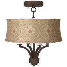 "Fortuna Bronze 16"" Wide Taupe Floral Ceiling Light"