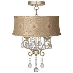 "Conti 16"" Wide Ceiling Light with Taupe Floral Shade"