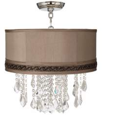"Nicolli Clear 16"" Wide Morell Silver Crystal Ceiling Light"