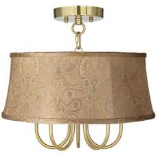"Wynwood Gold 17"" Wide Wasby Tan Ceiling Light"
