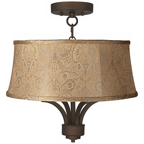"Fortuna Bronze 17"" Wide Wasby Tan Ceiling Light"